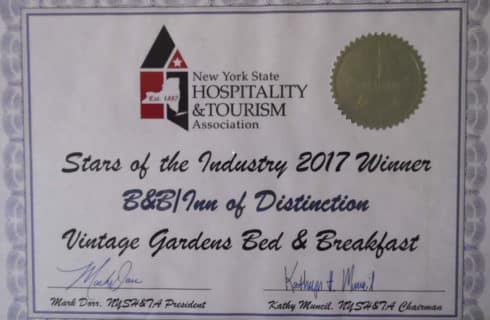 State of the Industry Award for Vintage Gardens Bed & Breakfast from New York State Hospitality & Tourism Association.